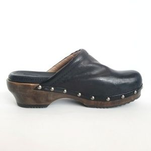 Frye Clara Campus Black Leather Studded Clogs